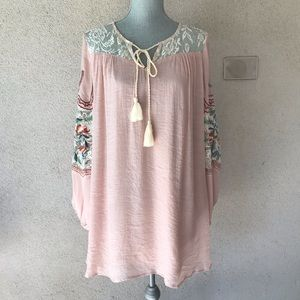 Umgee Pink Long Sleeve Boho Dress Embroidered M